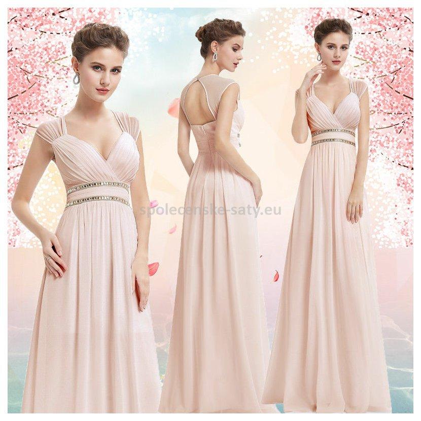 9a3f9ded6a5 Béžové pudrové dlouhé společenské šaty ve stylu řecké bohyně 40-42 ...
