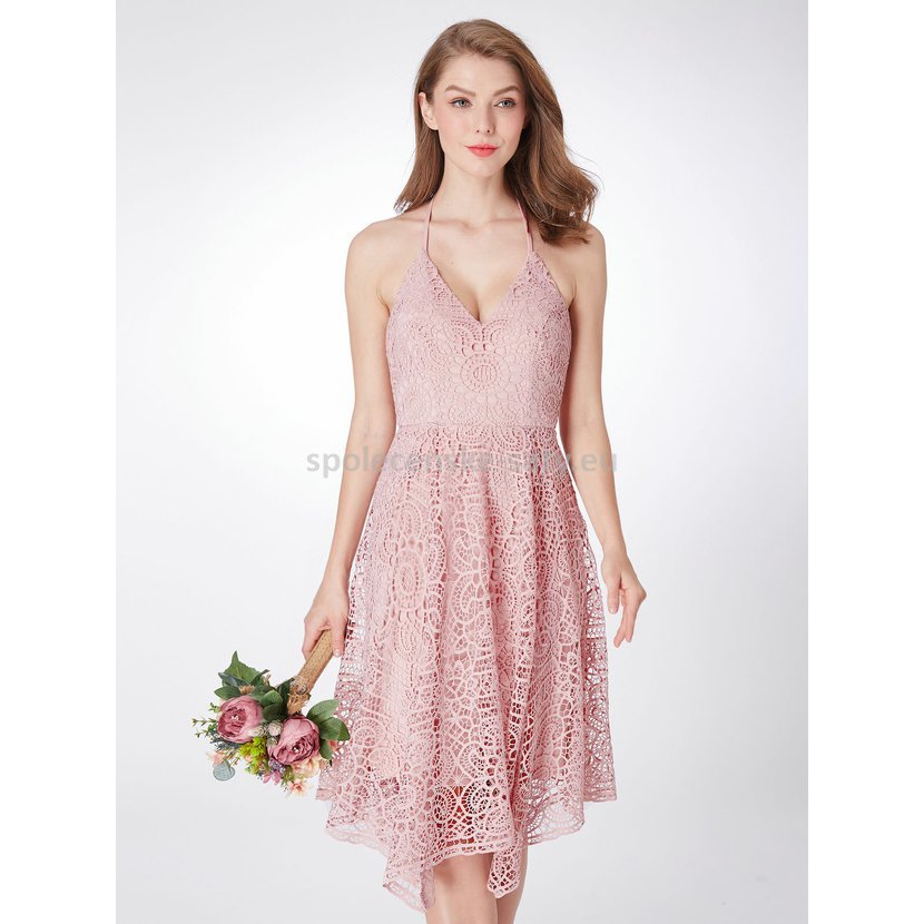 Starorůžové krátké krajkové šaty za krk na svatbu 38-40  545fa81d1dd