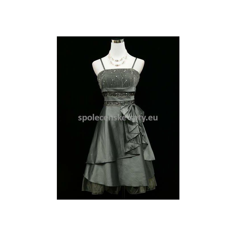 Stříbrné šedé krátké šaty na ples pro baculky 48-50  39037fb09ec