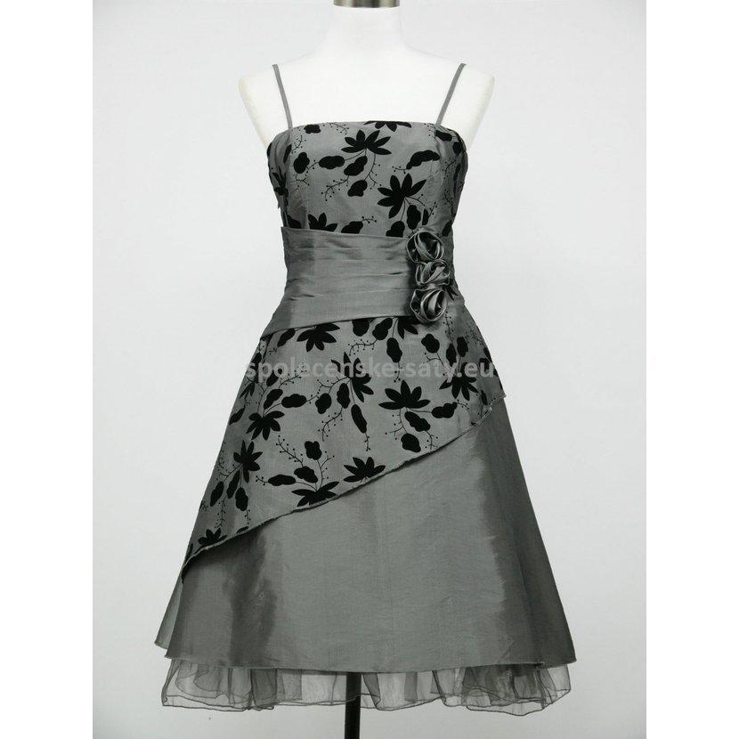 Šedé stříbrné šaty retro na svatbu koktejlky 50-52  1f9dc1c399