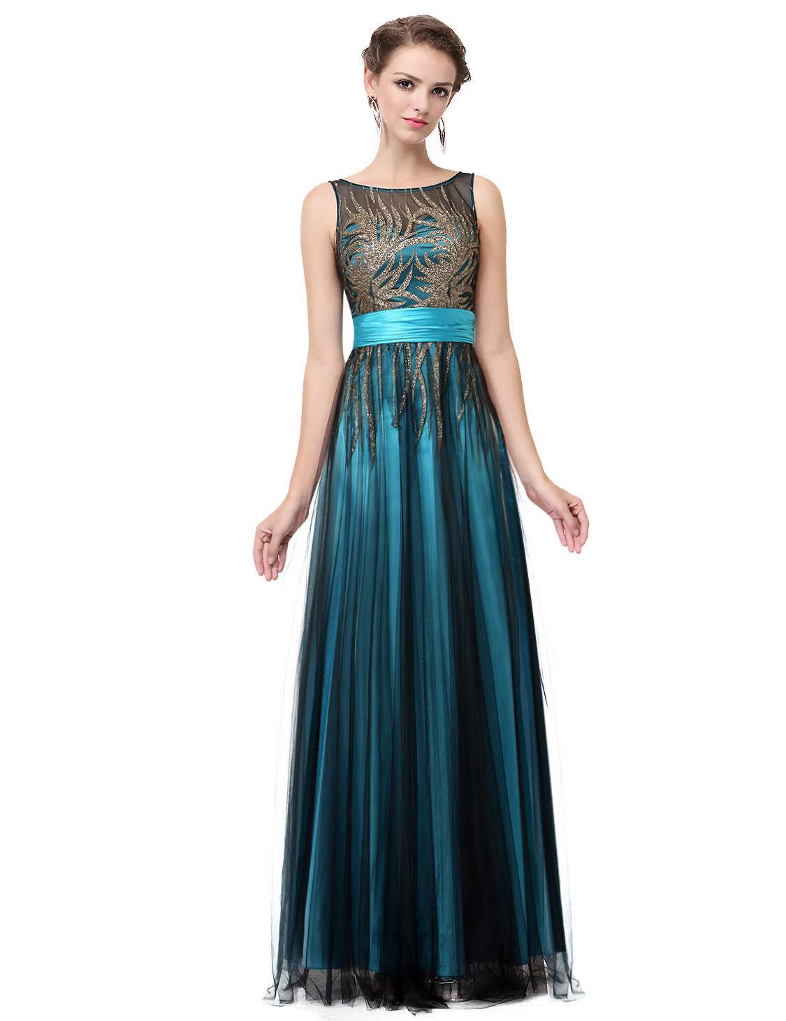 Tyrkysové černé princeznovské šaty 38 M  908e9338e5