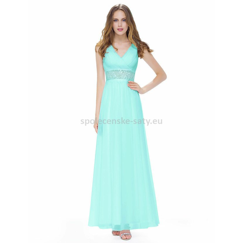 2440d1db859 Jednoduché dlouhé tyrkysové šaty na svatbu na léto 44 XXL