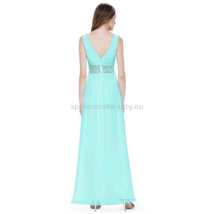 Jednoduché dlouhé tyrkysové šaty na svatbu na léto 38 M  c923dcea7c