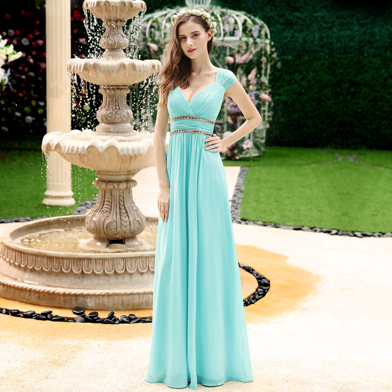 fc7490ce3f54 Tyrkysové dlouhé společenské šaty ve stylu řecké bohyně 44 ...