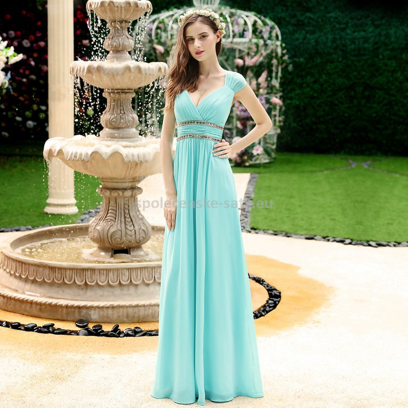 55d5d62fe3 Tyrkysové dlouhé společenské šaty ve stylu řecké bohyně 38-40 ...