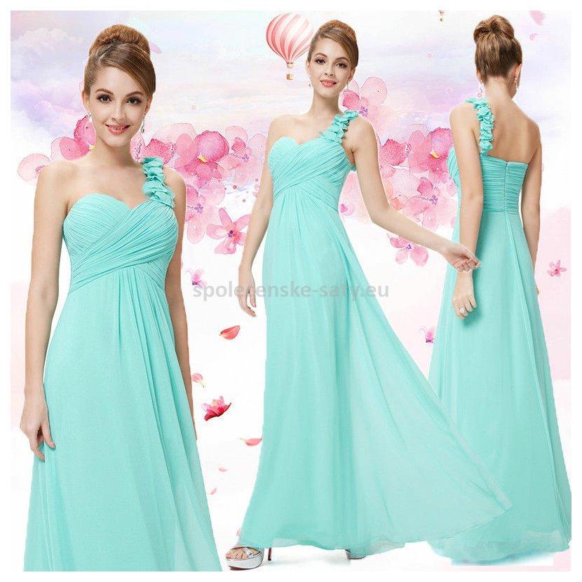 34dc569a861 Tyrkysové dlouhé společenské šaty na jedno rameno i pro těhotné 44 ...