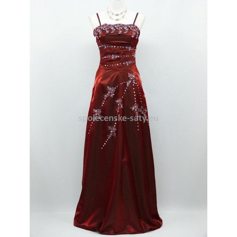 Vínové dlouhé plesové šaty 50-52 pro baculky boubelky  7880cb57343