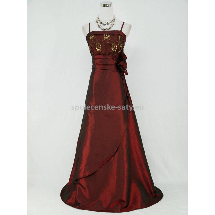 Vínové dlouhé šaty na ples pro baculky boubelky 50-52  51d57e37695