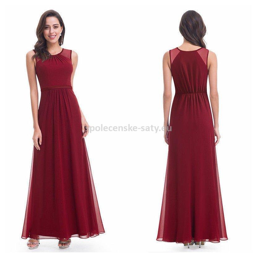 Vínové dlouhé společenské svatební šaty na hrubší ramínka 42 ... c0f7f62236