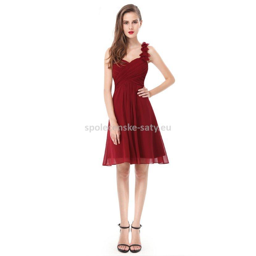 Vínové krátké společenské šaty koktejlky na jedno rameno 44 ... 3ab28919b09