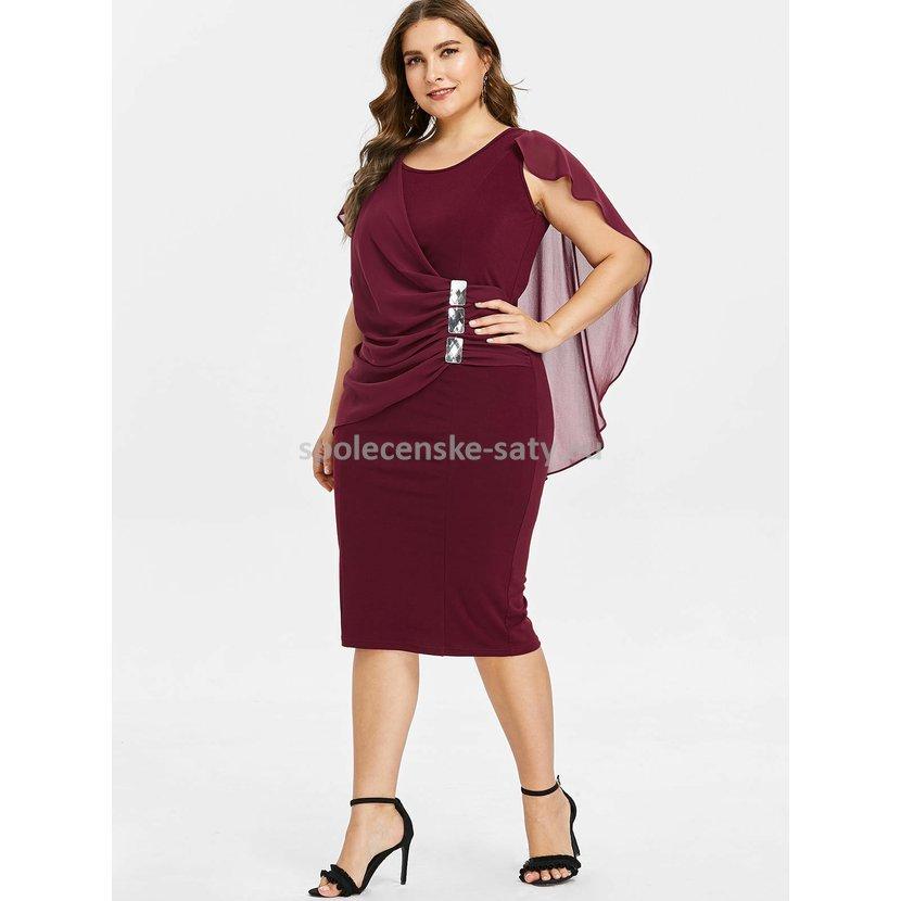 2f08c71479c3 Vínové krátké šaty s rukávem pro plnoštíhlé 50