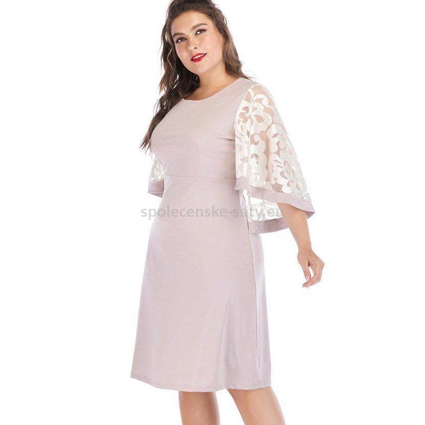 24b201f163b8 Béžové krátké šaty pod kolena v nadměrné velikosti 48