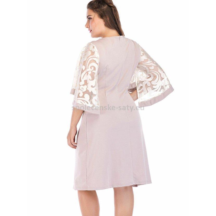Béžové krátké šaty pod kolena v nadměrné velikosti 52  30858dadf6