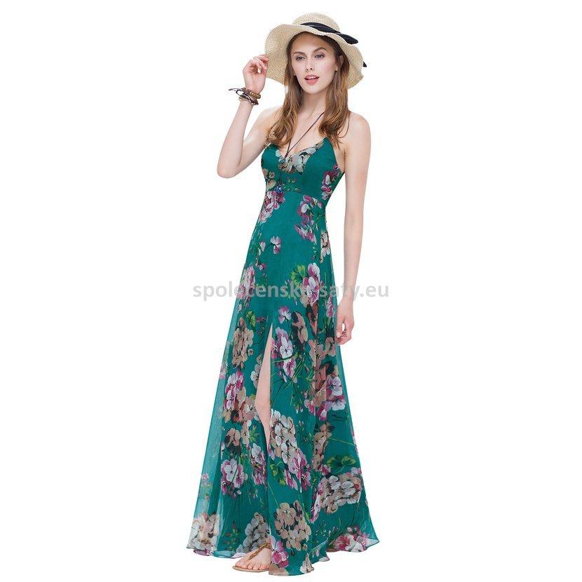 5cec8f6dabf Zelené dlouhé letní šaty na pláž s rozparkem 38-40