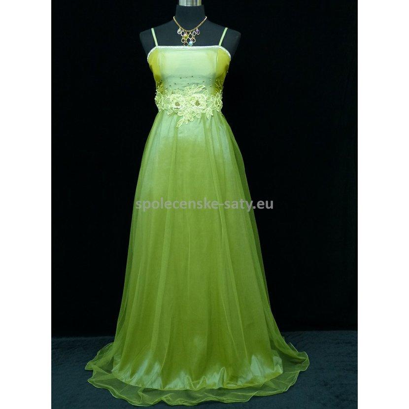 Zelené dlouhé šaty na ples do tanečních 42-44  8d651abef9