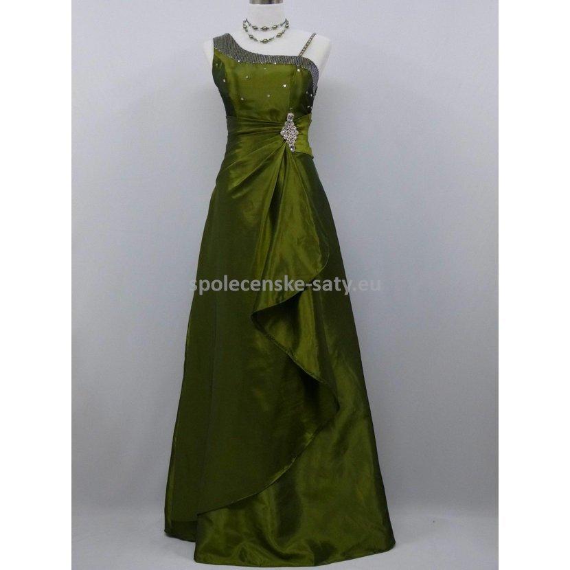 Zelené olivové dlouhé plesové svatební šaty pro plnoštíhlé 50-52 ... f003f7620e