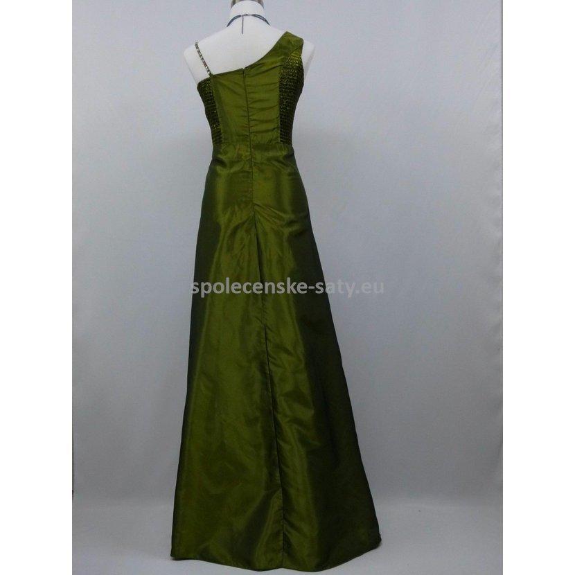 Zelené olivové dlouhé plesové svatební šaty pro plnoštíhlé 50-52 ... 35e4565855a
