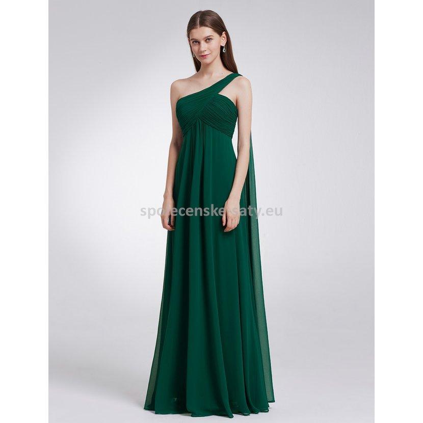 Zelené dlouhé společenské šaty na 1 rameno empírové i pro těhotné 34 ... 5739c65902