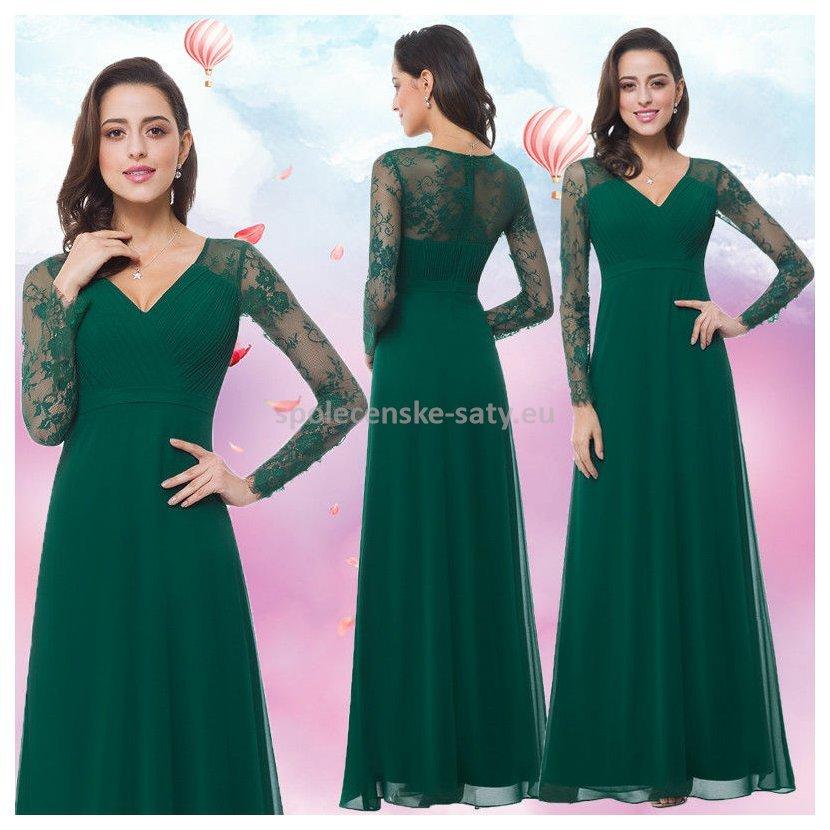 Zelené dlouhé plesové šaty s rukávem na svatbu ples operu 38-40 ... ac39864bee