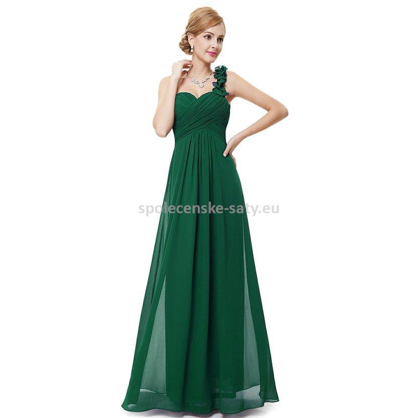 d98b4957f35 Zelené dlouhé společenské šaty na jedno rameno i pro těhotné 46 ...