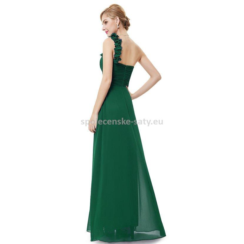 Zelené dlouhé společenské šaty na jedno rameno i pro těhotné 40 L ... 3bd38270a7