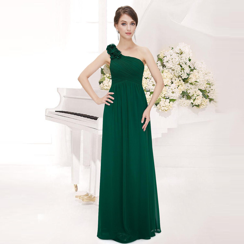 Zelené dlouhé společenské šaty na rameno jednoduché 46 XXXL ... b44a94fabc