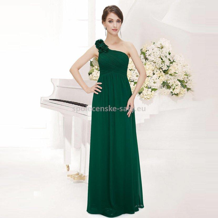 b6ab29f12420 Zelené dlouhé společenské šaty na rameno jednoduché 46 XXXL ...