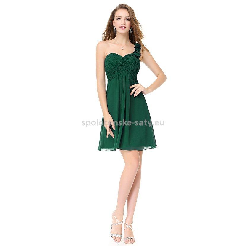 Zelené krátké společenské šaty koktejlky na jedno rameno 44 ... f8dd65912d2
