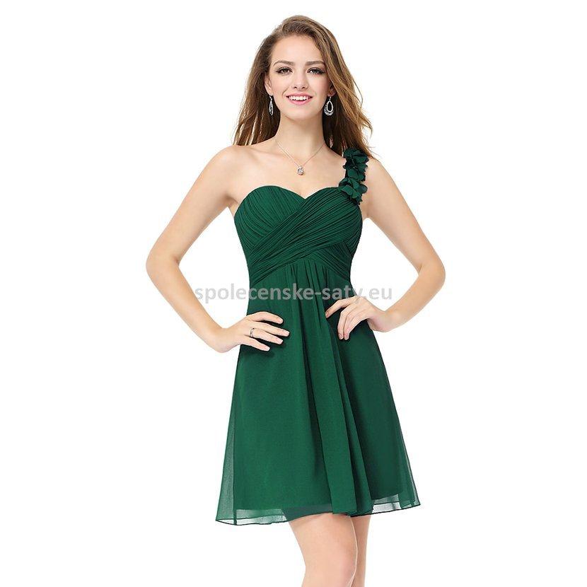 Zelené krátké společenské šaty koktejlky na jedno rameno 44 ... fc34acb184