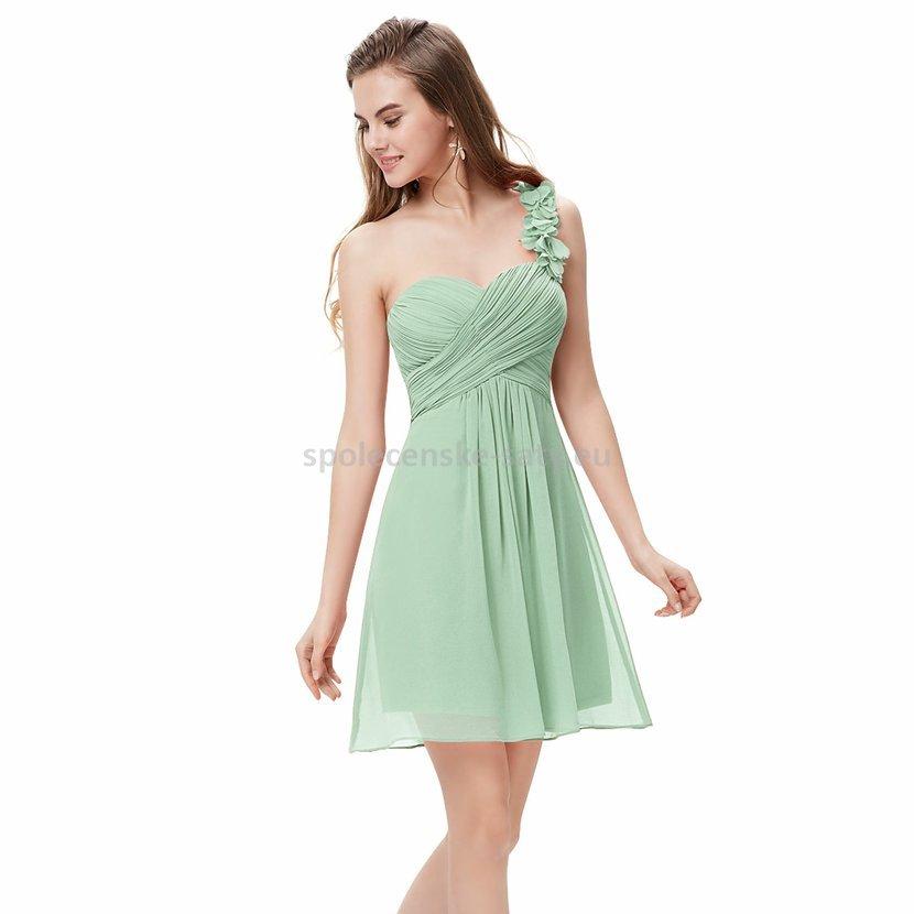 Zelené světlé krátké mintové šaty na jedno rameno 42 xl ... e8ba84fbea