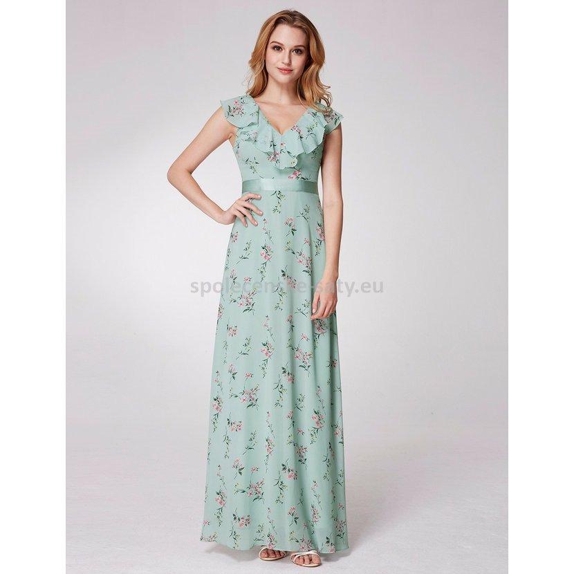 Zelené mintové dlouhé letní společenské šaty se vzorem 38-40  230195a2f1