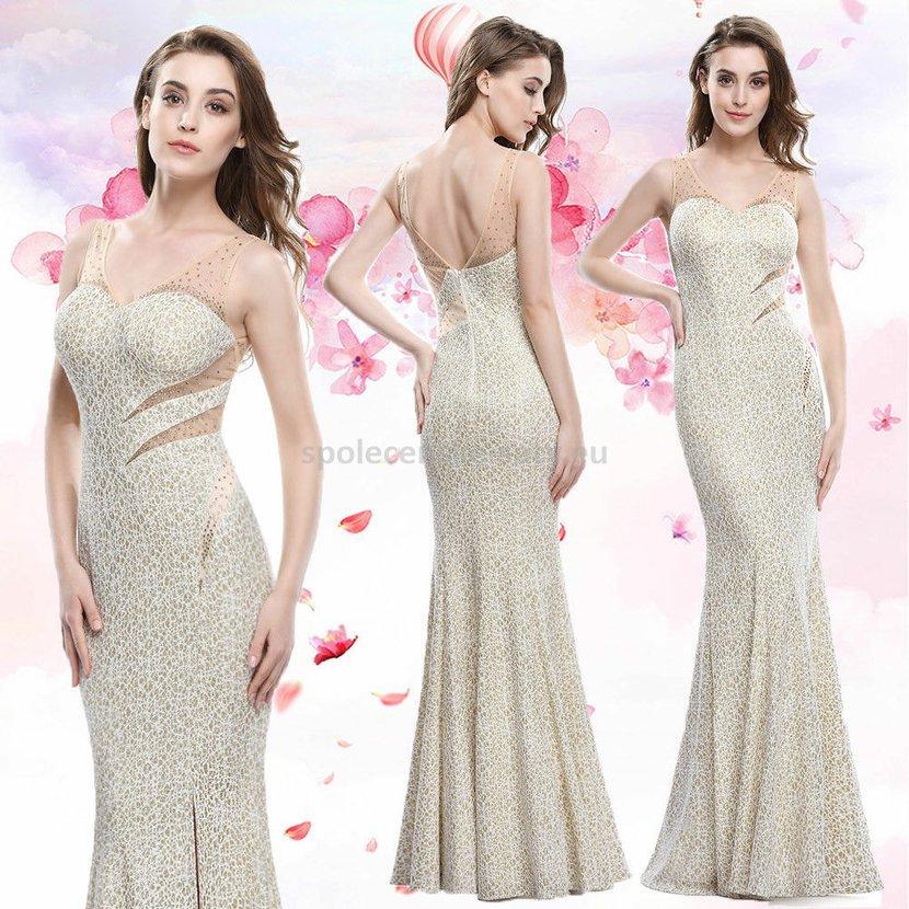 Zlaté dlouhé pouzdrové šaty na svatbu 38 M  36c6649852e
