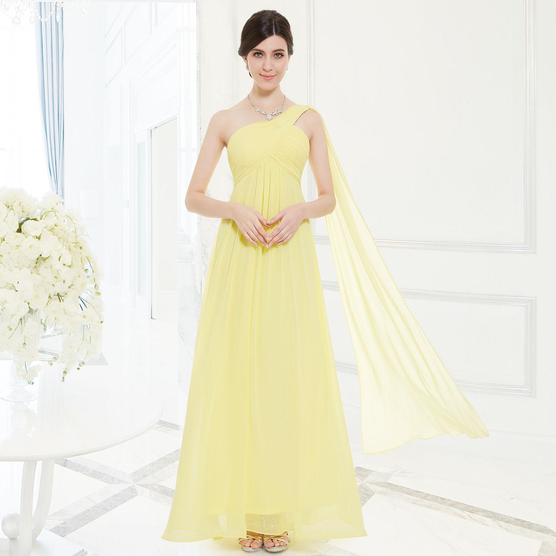 Žluté dlouhé společenské šaty na 1 rameno empírové i pro těhotné 34 ... 2c25cbc1fe