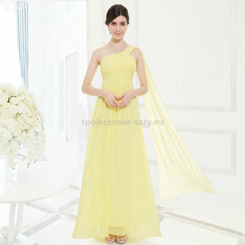 8b38e97ebde5 Žluté dlouhé společenské šaty na 1 rameno empírové i pro těhotné 34 ...